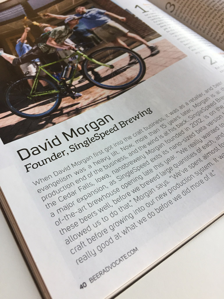 SingleSpeed Brewing Article in Beer Advocate