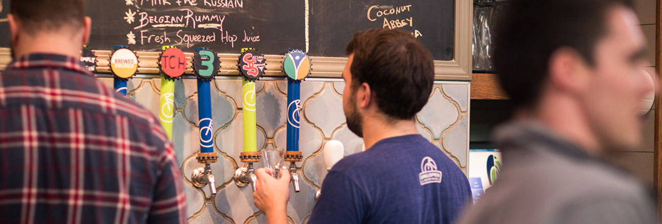 Beer taps at SingleSpeed Brewing